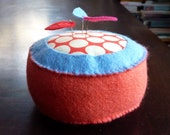 Pincushion, home for pins - coral