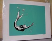 Diving Mermaid with Bubbles - Ink Drawing Printer's Proof