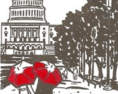 DC Love- Capitol gocco art print- GRAY