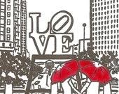 Philly Love gocco art print- GRAY