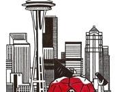 Seattle Love gocco art print
