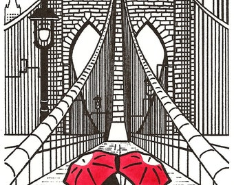 New York Love gocco art print- Brooklyn Bridge