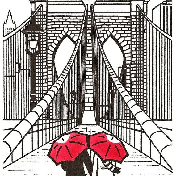 New York Love gocco art print- Brooklyn Bridge