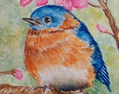 ACEO Art Print - Eastern Bluebird - by LaRusc, FREE Shipping
