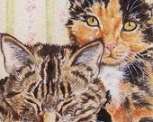 ACEO Art Print - Calico and Tiger Cat - by LaRusc, FREE Shipping