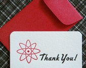 Letterpress Thank You Cards and Envelopes Set of Ten Mini Cards - Atomic