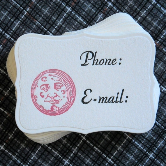 Letterpress Calling Cards - Set of 18 - Pink Man on the Moon