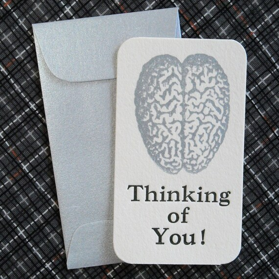 Letterpress Mini  Cards and Envelopes - Set of Ten - Silver Brain - Thinking of You