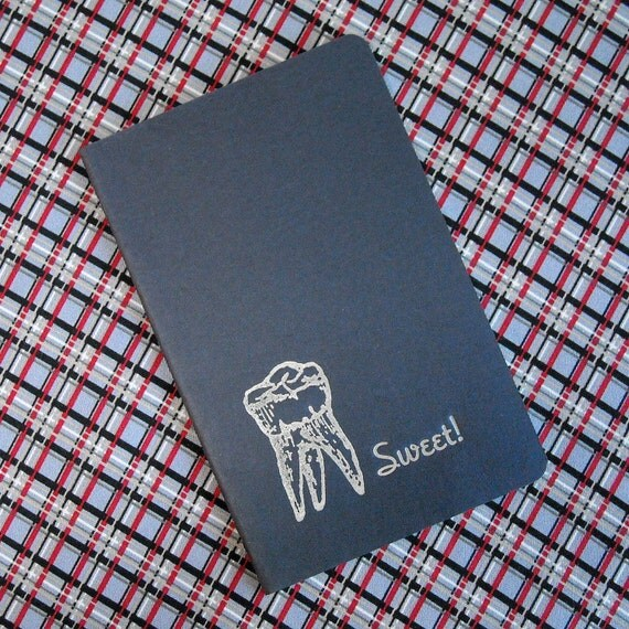 Small Pocket Sized Letterpress Moleskine Journal - Lined  - Sweet Tooth - Navy Blue