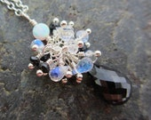 Full Moon - Gilson Opal, Rainbow Moonstone and Black Spinel Briolette Argentium Silver Necklace