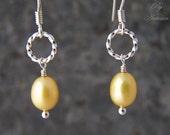 Banana Twist - Yellow Freshwater Pearl Sterling Silver Earrings