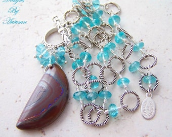 Sale - Twisted Aussie - Australian Boulder Opal and Apatite Sterling Silver Toggle Y Necklace