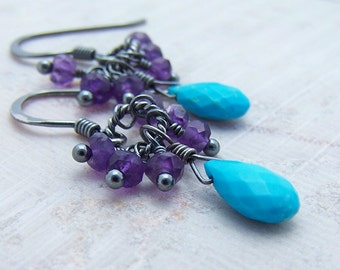 Sale - Amethyst and Turquoise Briolette Oxidized Sterling Silver Earrings