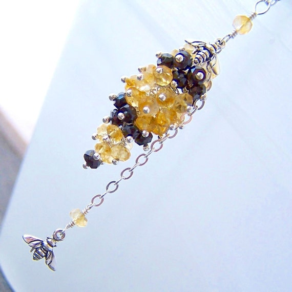 Sale - Don't Worry Bee Happy - Honey Bee, Citrine and Black Spinel Sterling Silver Y Necklace