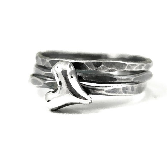 distressed heart hammered sterling stack rings- set of 3
