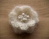Sparkling crochet flower brooch