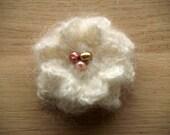 Ivory crochet flower brooch