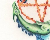 Original Art-Coloured Pencil Pentacle Dragons