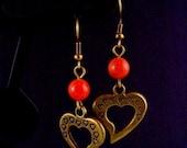 SALE - Buy2-get1 FREE...I Heart You....Jade Brass Earrings