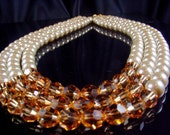 Three Strand  Swarovski and Pearl Necklace (Choose your own color)