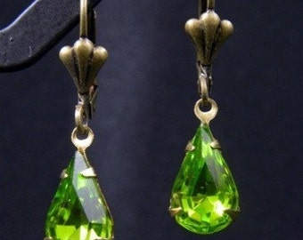 SALE - Buy any 2 items, get 1 FREE....Peridot Rhinestone Vintage Earrings