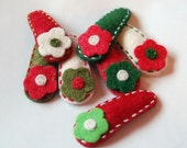 Neskat.s Embroidered Wool Felt Hair Clip -Holiday Colors-4-