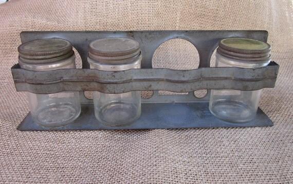 Industrial metal Garage shop knick knack jar storage wall rack