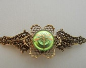 Czech opal essence green and gold dragon fly Button barrette