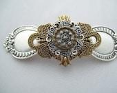 SteamPunk Victorian Vintage Button barrette hair clip