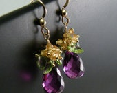Sapphire Peridot Alexandrite and Gold Filled Earrings - Cecilia One of a Kind Earrings - Fall 2010 Collection