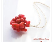 Red Coral  and Gold Filled Necklace Claudia Limited Edition Necklace