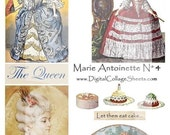 Instant Download Marie Antoinette Digital Collage Sheet No 4  Mixed Media Collage Images DCS-333, Printables, Downloads