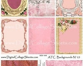 Instant Download Valentines Day ATC ACEO Backgrounds Digital Collage Sheet DCS-446, Printables, Downloads