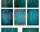 Instant Download Christmas ATC Backgrounds Digital Collage Sheet  DigitalCollageSheets DCS-1074 Teal Christmas, Printables, Downloads