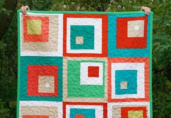 Modern Quilt - Toddler Quilt - Off Centered Sherbet Squares