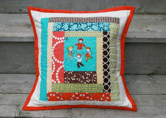 Modern Patchwork Pillow : Modern Patchwork Pillow Cover Little Apples by FreshLemonsQuilts