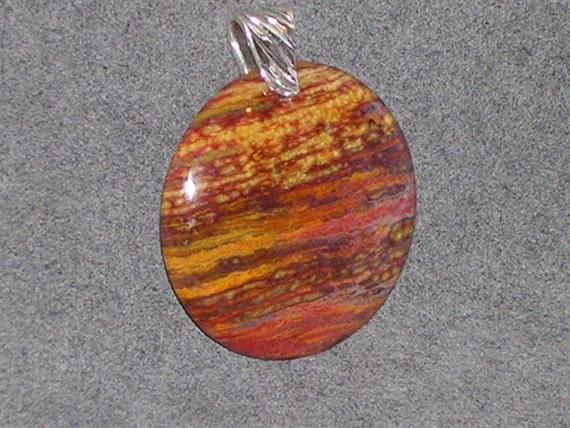 SALE 30% OFF Ocean Wave Jasper Stone Pendant with Artisan Sterling Silver Bail