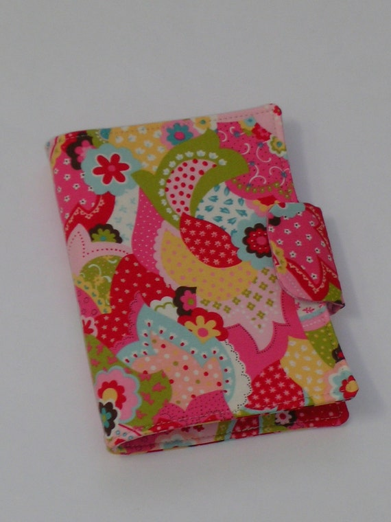 SALE Fabric Notebook Organizer with magnetic snap closure (fits 4 X 6 notepad)