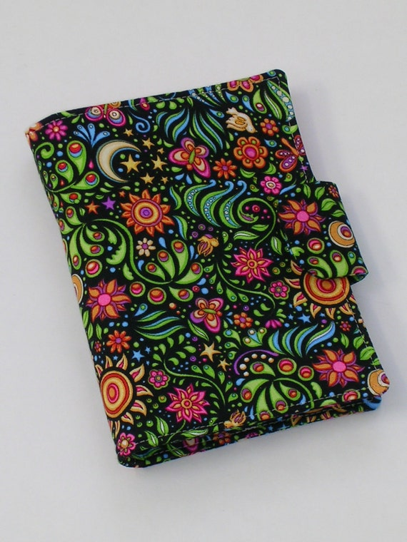 Fabric Notebook Organizer with magnetic snap closure (fits 4 X 6 notepad)