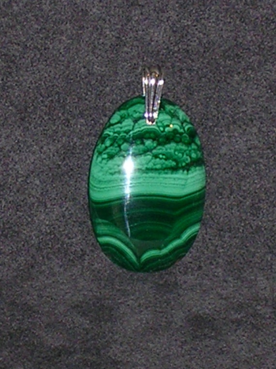 "Sale-Malachite Stone Pendant with Artisan Sterling Silver Bail (includes 16"" snake chain necklace)"