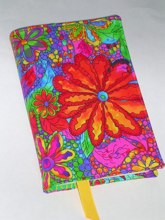 Fabric Book Cover (for large trade size paperback books 5.5 X 8.25) with ribbon bookmark