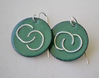 Sea Foam Green Enamel Earrings