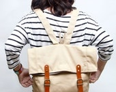 Handmade backpack Marine lover collection  khaki color
