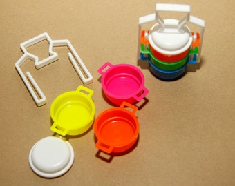 set of 5 plastic toy thai style lunchbox (bento)