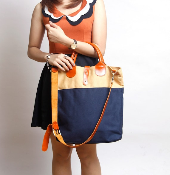 Handmade blue navy tote bag MASCULINE Collection