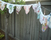 Vintage Hankies Wedding Bunting Garland Floral Prints Mixed Colors