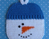 Snowman Potholder Crochet PATTERN - INSTANT DOWNLOAD