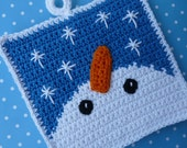 Snowman Gazing at Snowflakes Potholder Crochet PATTERN - INSTANT DOWNLOAD