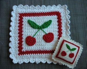 Cherries Potholder or Pincushion Crochet PATTERN - INSTANT DOWNLOAD