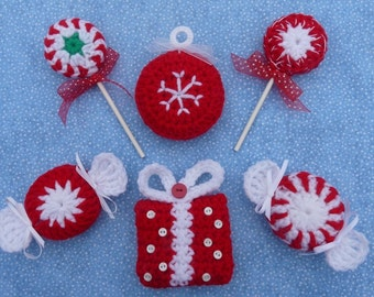 Peppermint Parade Christmas Ornament Crochet PATTERN Set - INSTANT DOWNLOAD